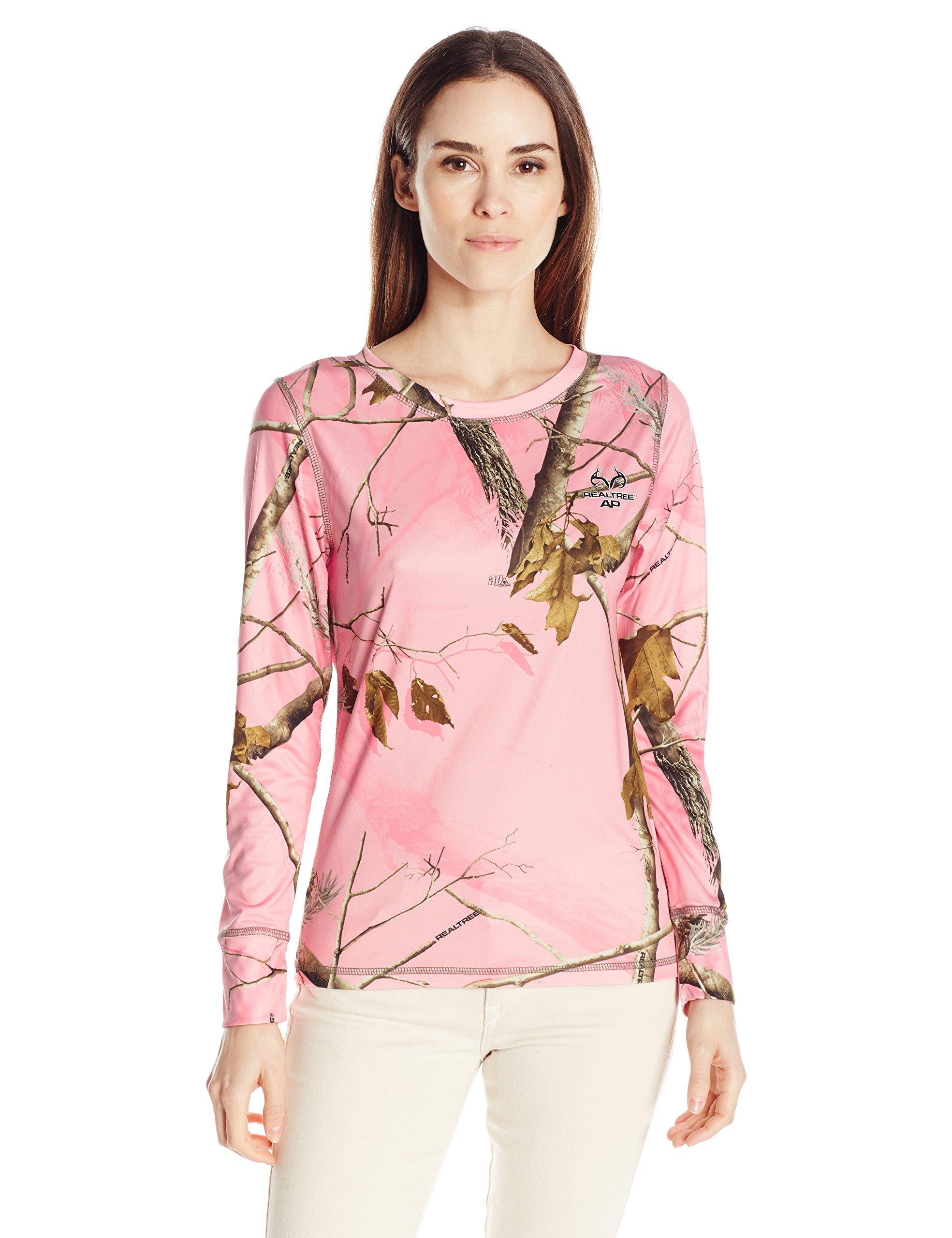 Realtree Women's Interlock Baselayer Thermal Top, Pink, Small