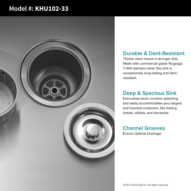 Kraus khu102 1650 - 41 CH Combo con 33 pulgadas Undermount 50/50 doble tazón fregadero de acero inoxidable de calibre 16 y Nola comercial grifo de la cocina ...