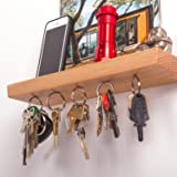 """12"""" Wide Floating Shelf and Magnetic Key Rack in Oak – Entryway Organizer made from Solid Wood and 5 Strong Magnets"""