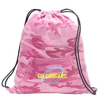 All about me company Personalized Football Sweatshirt Cinch Bag with  Kangaroo Pocket (Pink Camo) 8e09504b2763b