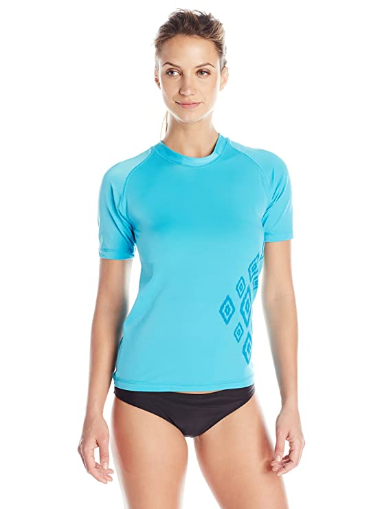 Kanu Surf Women's St. Lucia Short Sleeve UPF 50+ Rash Guard, Aqua, Small
