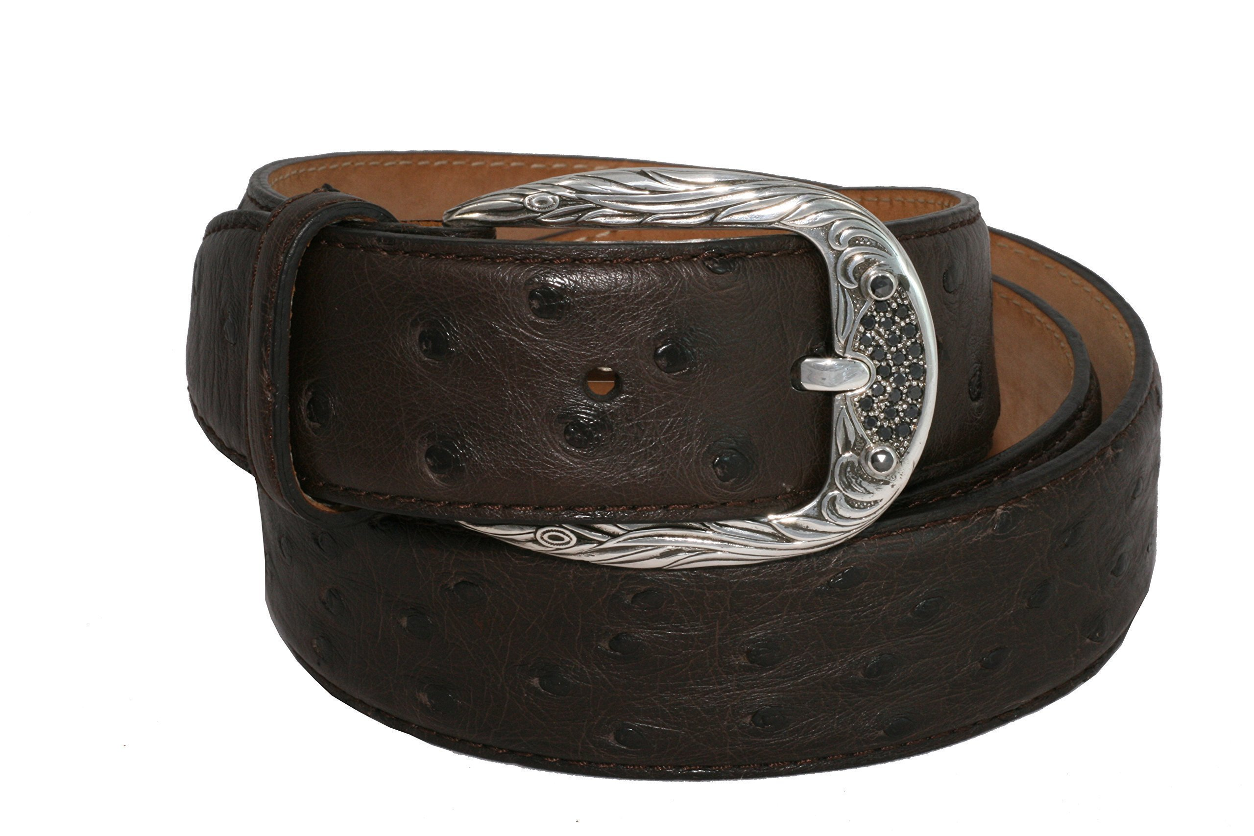 Belt by Urso Luxury buckle in Sterling silver and black Diamonds in Ostrich Skin