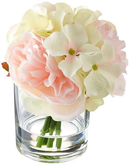 Amazoncom Pure Garden Hydrangea And Rose Floral Arrangement Pink