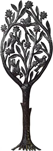 Le Primitif Galleries Haitian Recycled Steel Oil Drum Outdoor Decor, 34 by 12-Inch, Topiary Tree