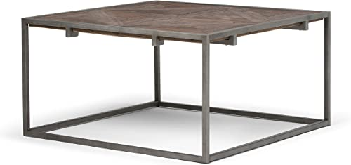 Simpli Home Avery SOLID AGED ELM WOOD and Metal 34 inch Wide Square Modern Industrial Coffee Table in Distressed Java Brown Wood Inlay , for the Living Room, Family Room