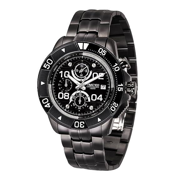 Time100 W70105G.02A Reloj pulsera de metal para hombres, multifunción correa de metal color negro: Amazon.es: Relojes