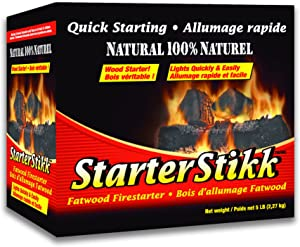 Pine Mountain StarterStikk 100% Natural Fatwood Firestarting Sticks, 5 Pound Natural Firestarting Wood Sticks for Campfire, Fireplace, Wood Stove, Fire Pit, Indoor & Outdoor Use