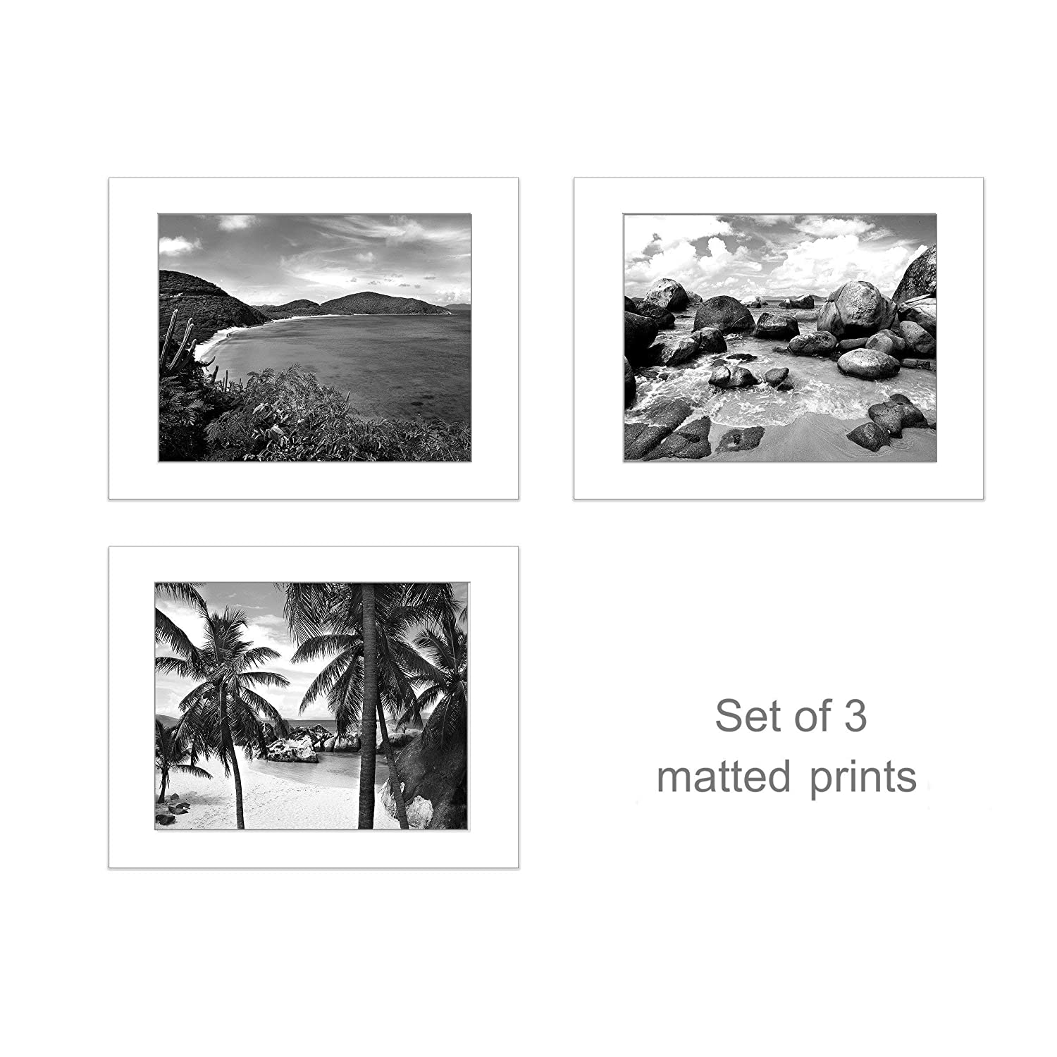 Amazon com beach photography coastal wall decor set of 3 black white 5x7 inch matted prints handmade