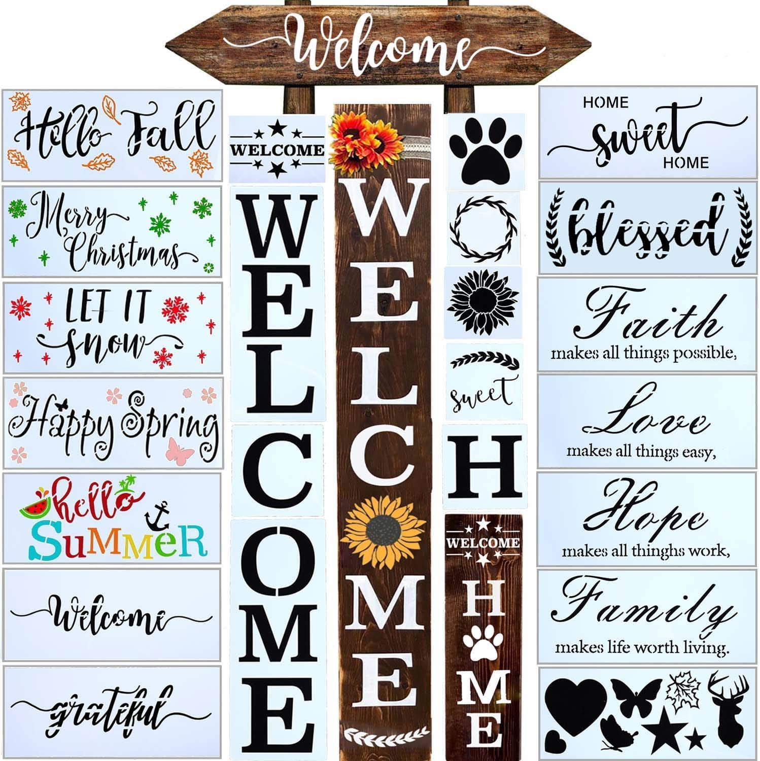 24 PCS Welcome Stencil for Painting on Wood,Home Sign Stencils Reusable Porch Sign and Front Door Vertical Welcome Comes with Stencil-Sunflower,Dog Paw Stencil and orther Pattern