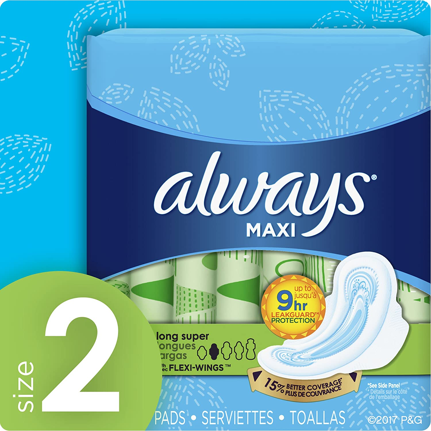 Amazon.com: Always Maxi Size 2 Feminine Pads with Wings, Super Absorbency, Unscented, 42 Count (Packaging May Vary): Prime Pantry