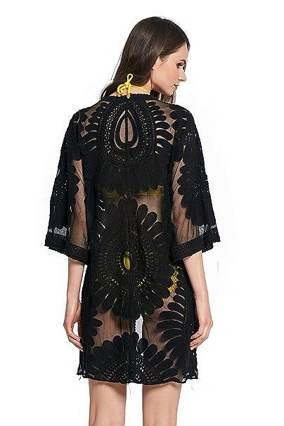 64a1e09c810 Women's Bathing Suit Kimono Beach Cover Up Lace Crochet Pool Swimwear (Black,  ...