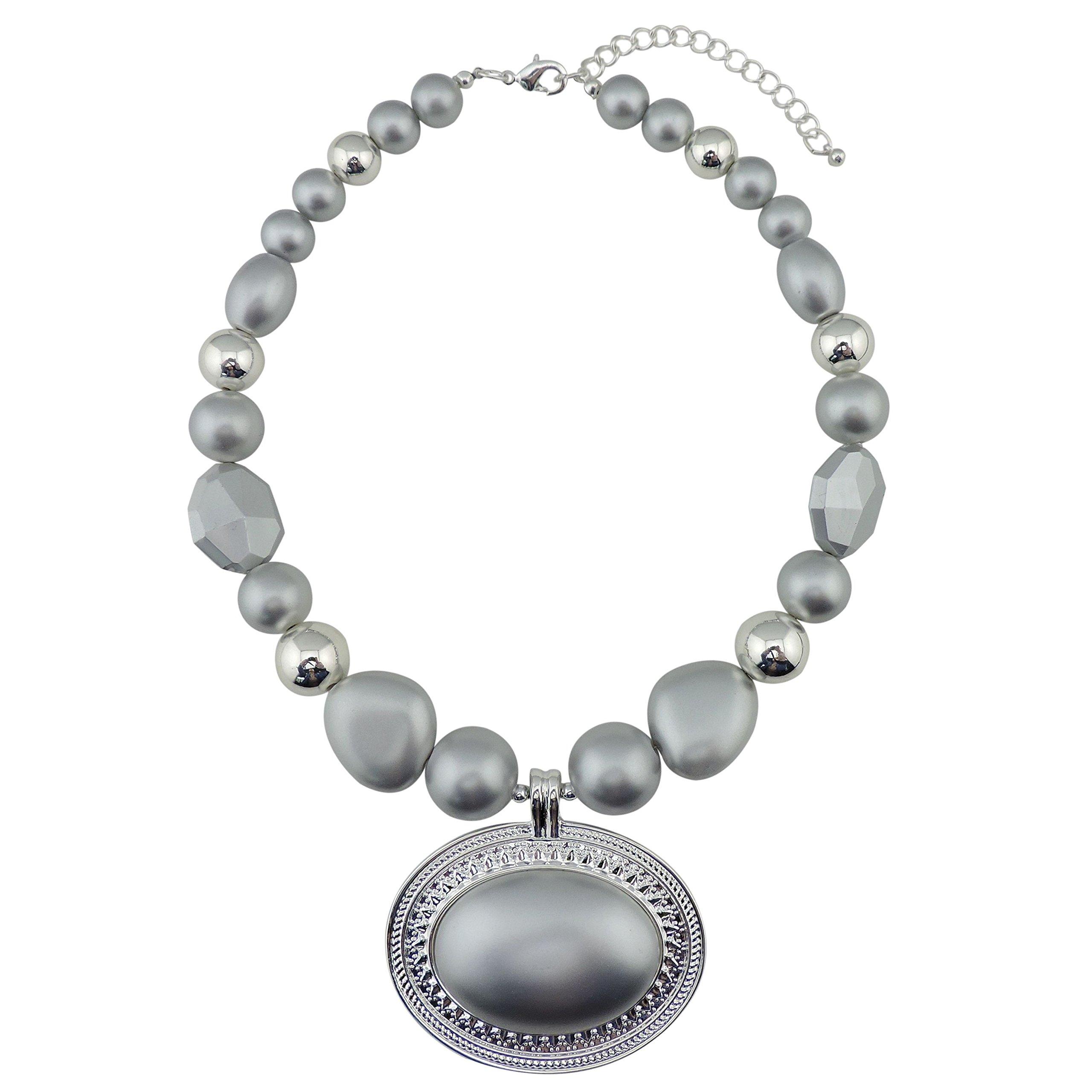 BOCAR Statement Beads Chunky Collar Pendant Necklace (NK-10420-matt silver)
