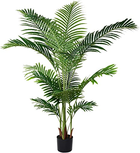 Amazon Com Lvydec 5 2ft Artificial Areca Palm Tree Decoration Faux Palm Tree With 17 Palm Leaves Faux Tropical Plant In Pot For Indoor Outdoor Home Decoration Home Kitchen