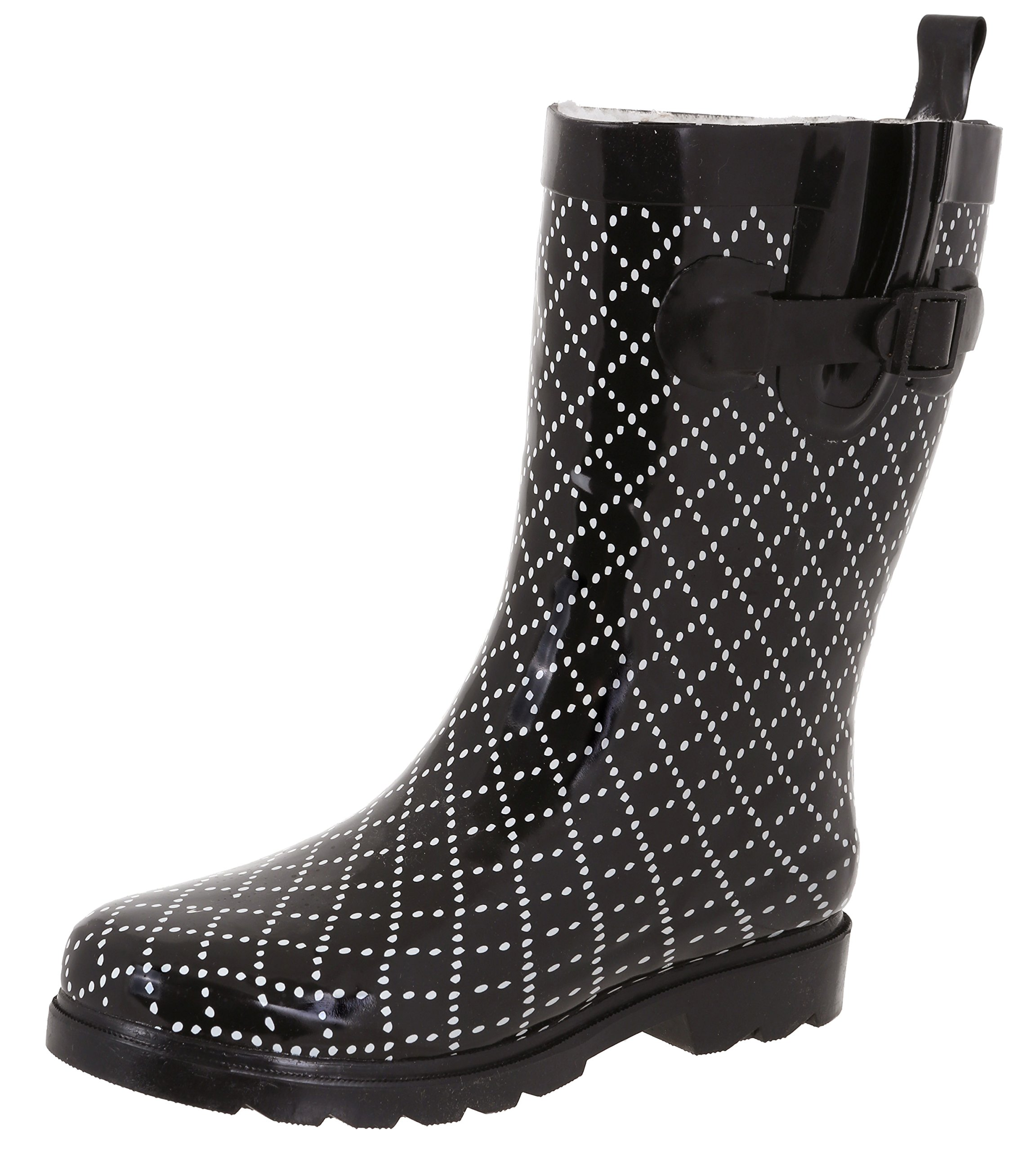 Capelli New York Ladies Dotted Diamonds Printed Mid-Calf Rain Boot Black Combo 9