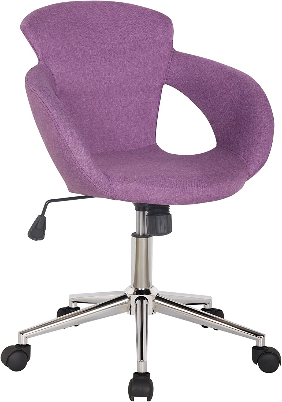 SixBros. Taburete Giratorio Silla de Oficina Tela púrpura M-65335 ...
