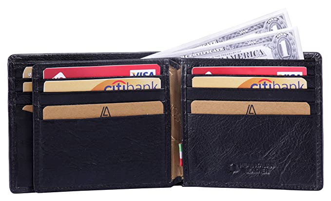 021c776044e1 Leather Architect -Men's Real Italian Leather Bifold Wallet with ID and  RFID blocking