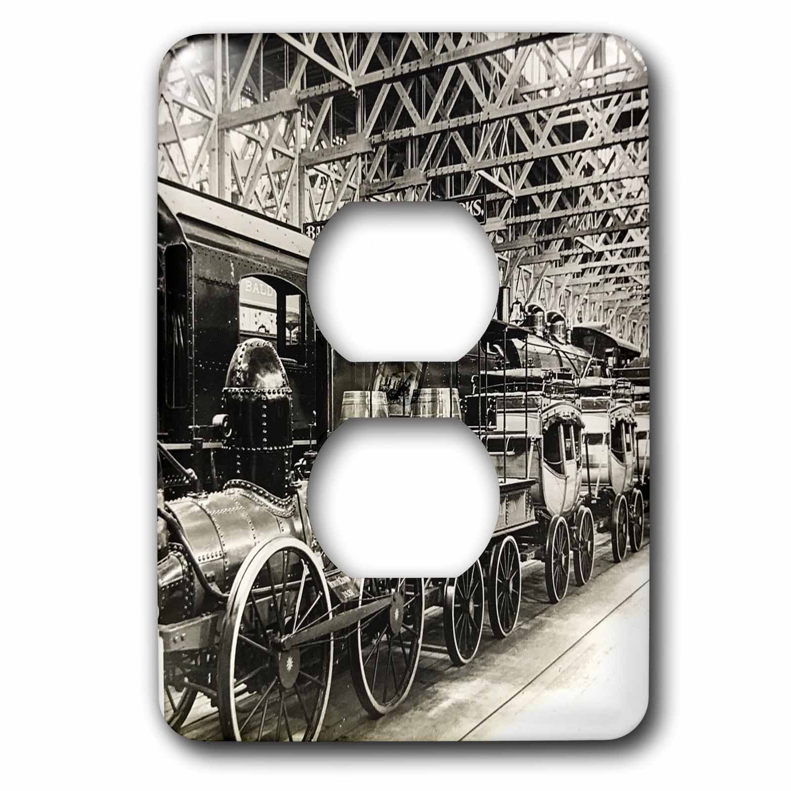 3dRose Scenes from the Past Vintage Stereoview Cards - Baldwin Locomotive Works Pennsylvania Stereoview Late 1800s - Light Switch Covers - 2 plug outlet cover (lsp_270024_6)