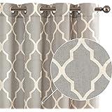 Soft Grey Moroccan Tile Print Curtains for Living Room Quatrefoil Flax Linen Blend Textured Geometry Lattice Grommet Drapes D