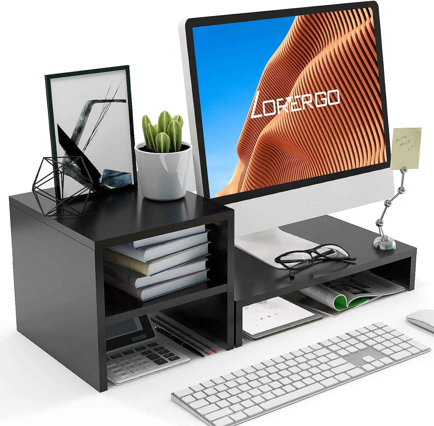 LORYERGO Monitor Stand Riser - Laptop Stand with 2 Tier Storage Shelf, Desktop Storage Organizer for Computer, Laptop, Printer, Perfect as Screen Stand, Desktop Bookshelf for Home & Office