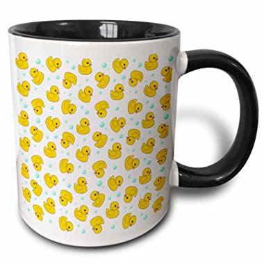 3dRose 3dRose Cute Rubber Duck Pattern - yellow ducks - kawaii ducky duckie - duckies and soap bubbles on white - Two Tone Black Mug, 11oz (mug_112951_4), Black/White