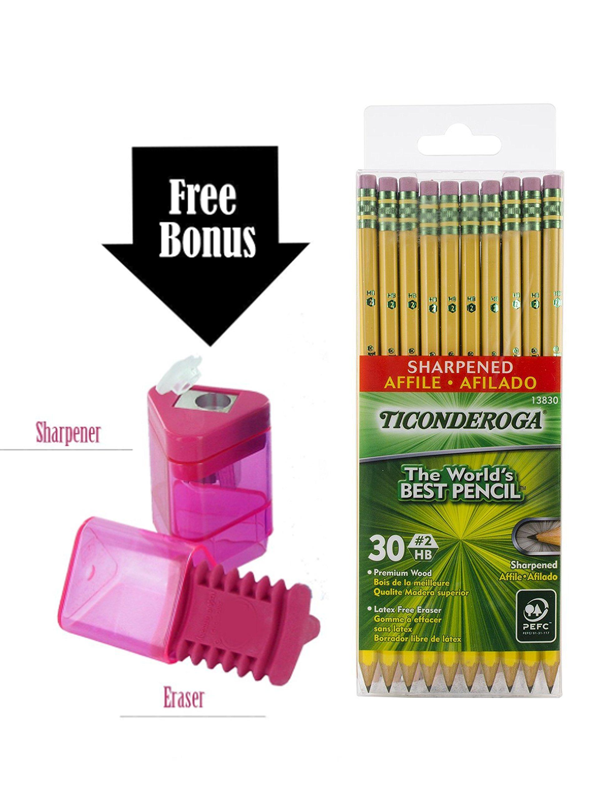 Dixon Ticonderoga Wood-Cased Pencils, 2 HB, Yellow, Box of 30, Including FREE BONUS 1 Hole Sharpener-Eraser Combo, (Colors may vary)