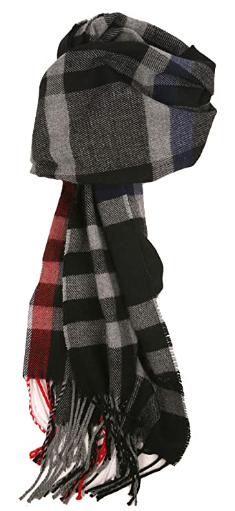 Love Lakeside-Men's Cashmere Feel Winter Plaid Scarf (26-Black, Gray, Blue, Red)
