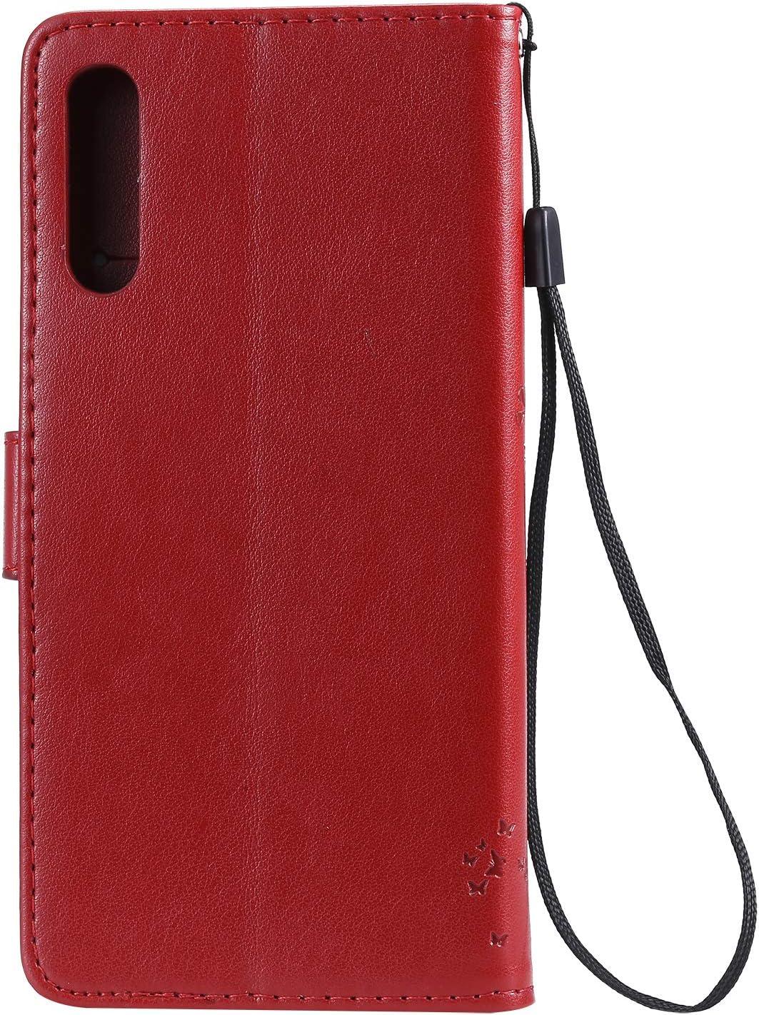 Karomenic kompatibel mit Samsung Galaxy A50 PU Leder H/ülle Katze Baum Pr/ägung Handyh/ülle Brieftasche Silikon Schutzh/ülle Klapph/ülle Ledertasche St/änder Wallet Flip Case Schale Etui,Grau