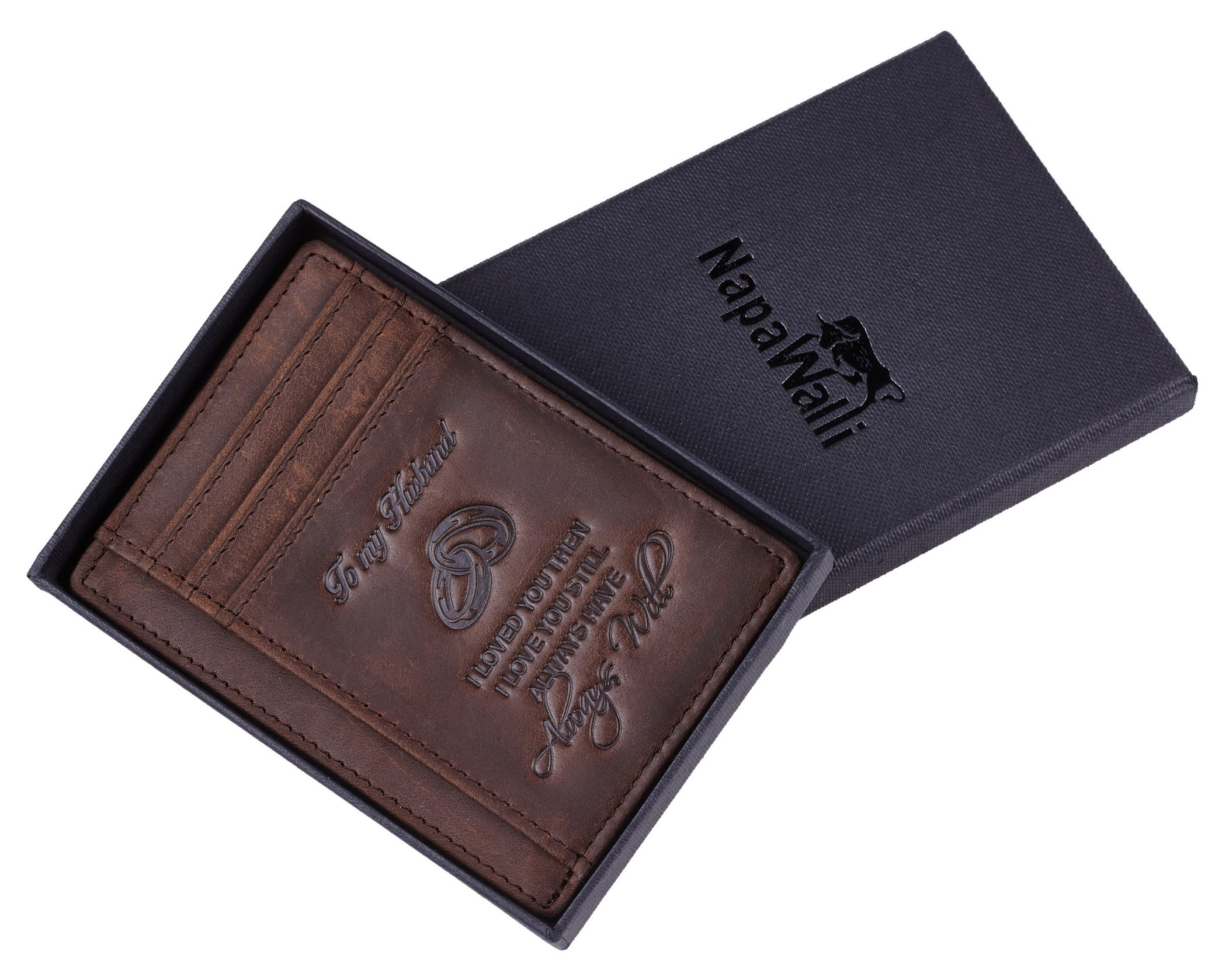 NapaWalli Wife To Husband Gift Best Anniversary Birthday Gifts For Him Genuine Leather RFID Blocking slim Wallet Card Holder (Hunter Coffee) by NapaWalli (Image #5)