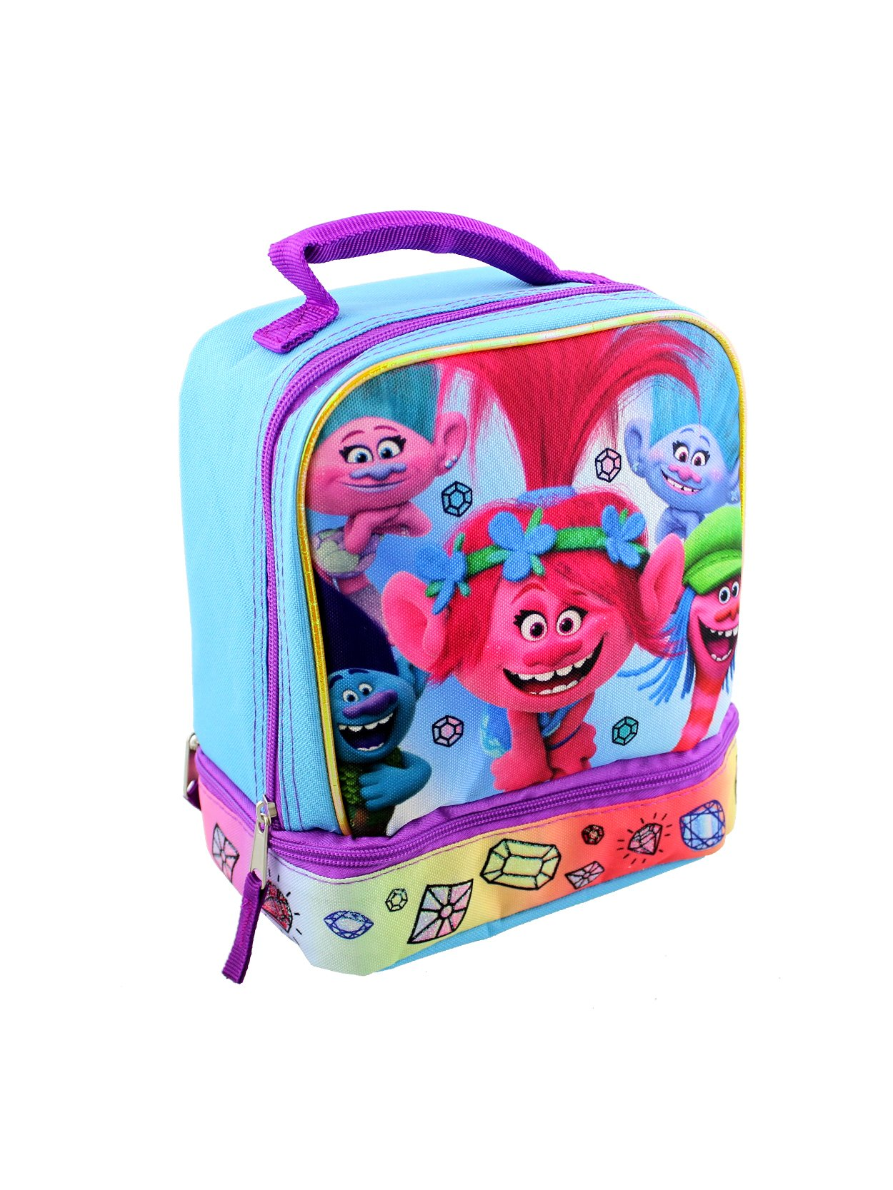 Trolls Dual Compartment Soft Lunch Box (Blue/Pink)