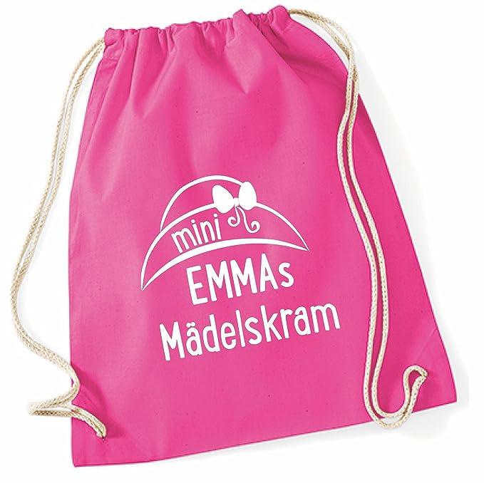 Sporttasche mit Namen für MädchenMotiv Ballett-Tänzerin in pink lila /& grau