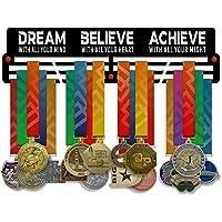 VICTORY HANGERS Dream Believe Achieve V2 Medal Houder Display Rack - 3 Bars Zwart Gecoat 3 mm Staal Metalen Hanger met…
