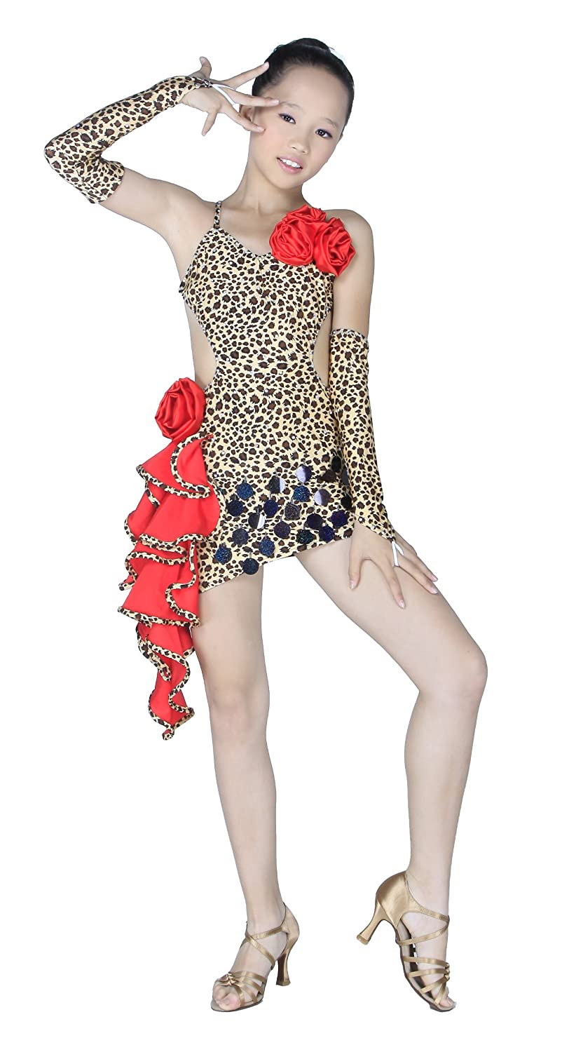 Colorfulworldstore Child Girls/Ladies Latin salsa cha cha tango Ballroom Dance Dress -Over all dress in 3sets-Leopard