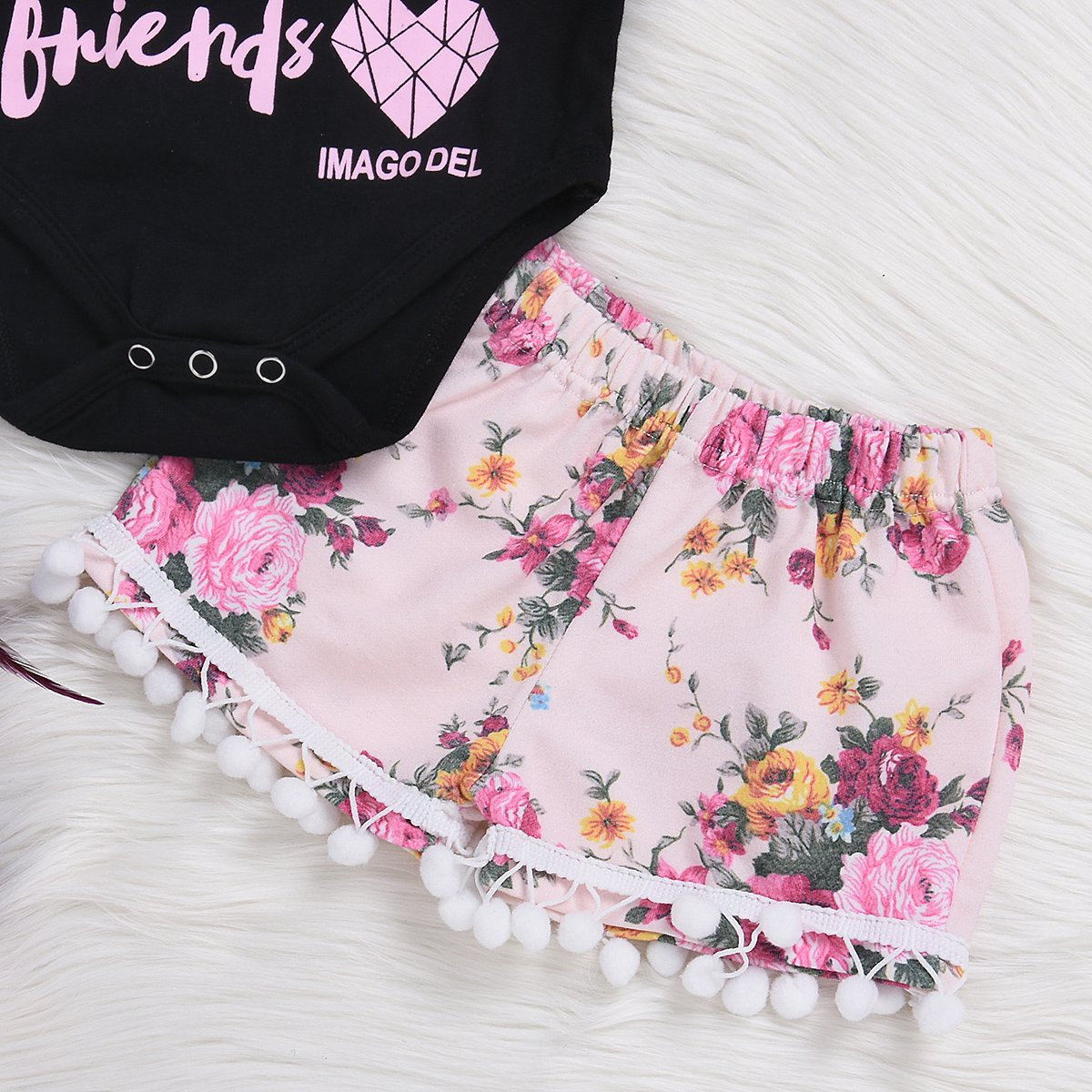 Floral Cotton Ball Shorts Outfit 2Pcs Twins Sisters Make the BEST Friend Print T Shirt
