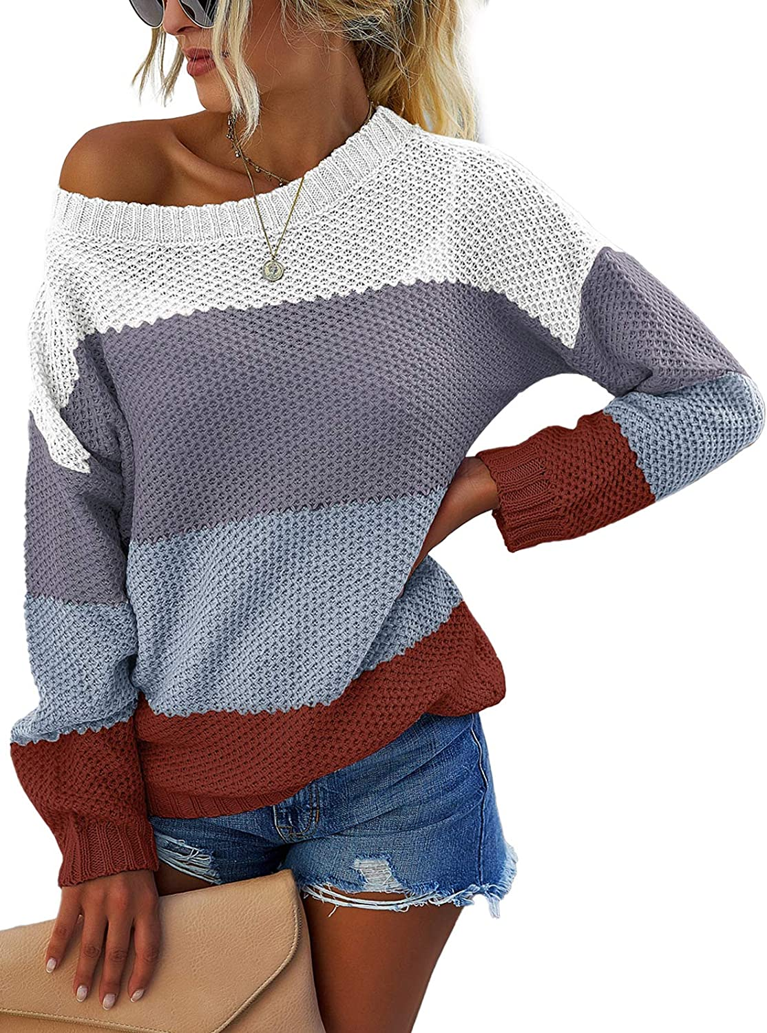 Adibosy Womens Crew Neck Sweater Color Block Sweaters Long Sleeve Striped Knit Loose Pullover Tops,Sweaters for Women