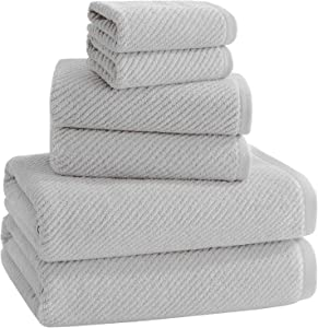 ALFRED SUNG HOME 100% Cotton Quick Dry Textured Bath Towel Set, 6 Piece Set, Includes 2 Bath Towels, 2 Hand Towels and 2 Washcloths, Highly Absorbent, Fast Drying, Luxury Bathroom Towels (Light Grey)