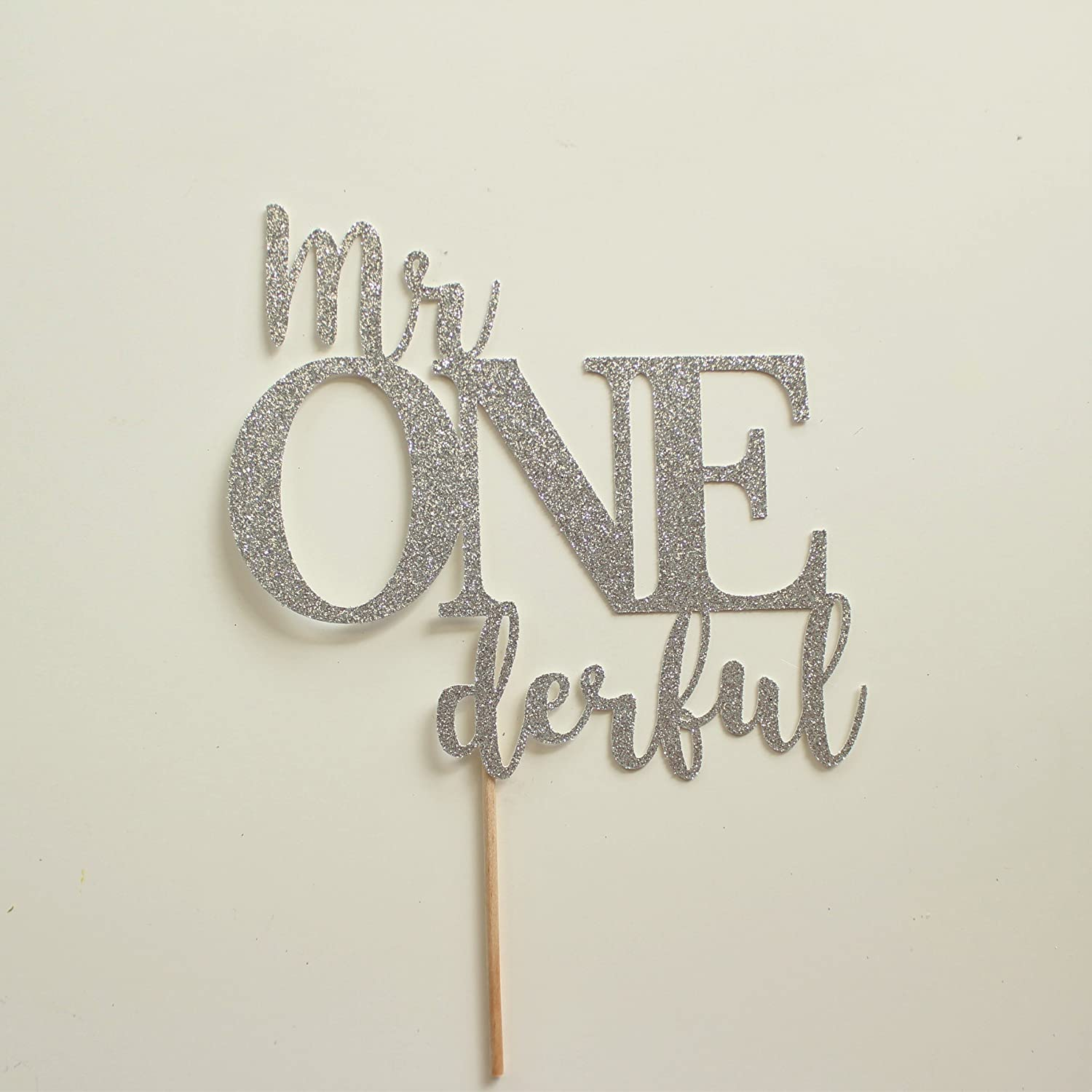 Silver Glitter Mr Onederful Cake Topper, First Birthday Day Pick, Wonderful, Boys 1st Birthday Decorations, Sign