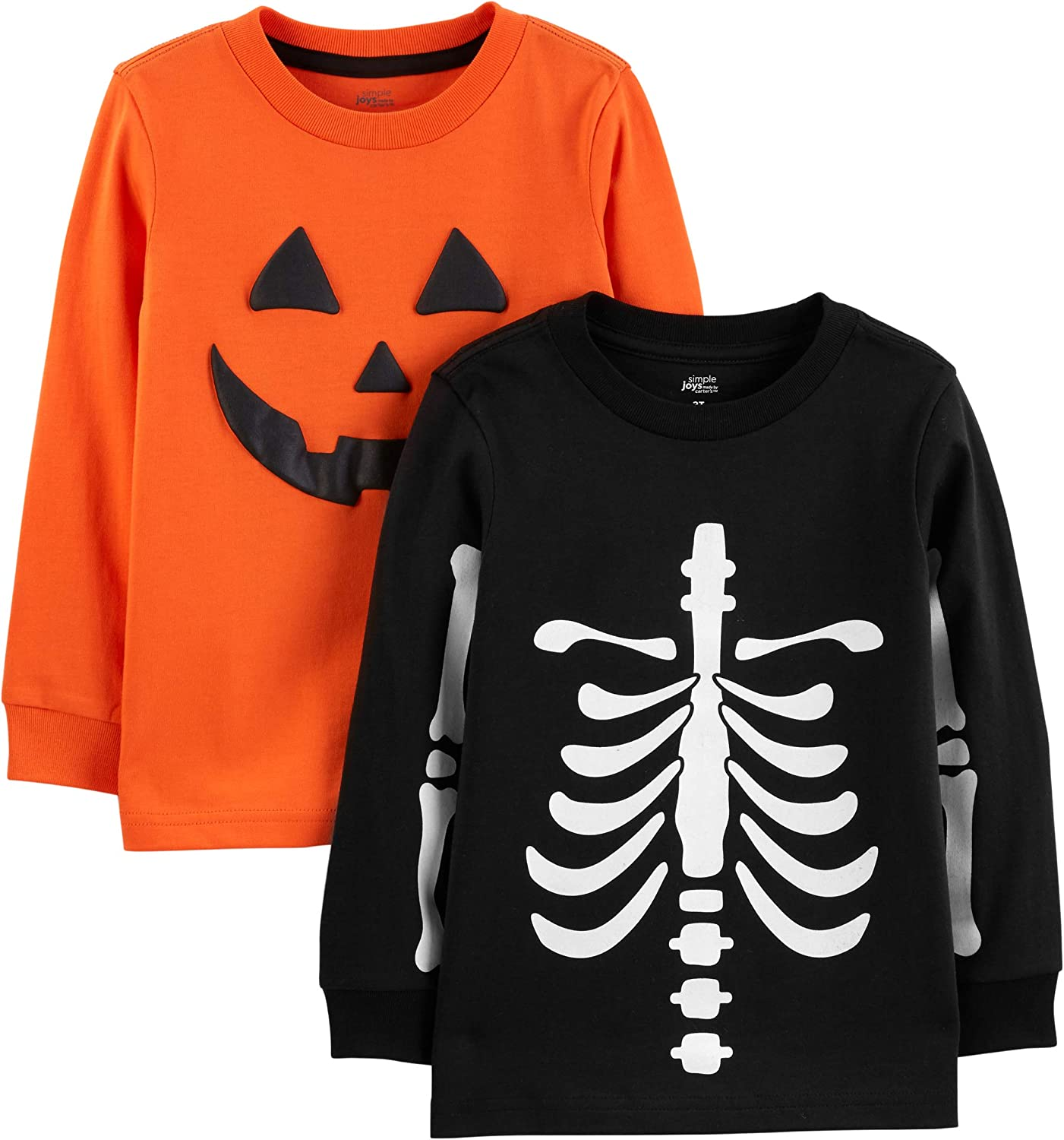 Simple Joys by Carter's Toddler Boys' 2-Pack Halloween Long-Sleeve Tees