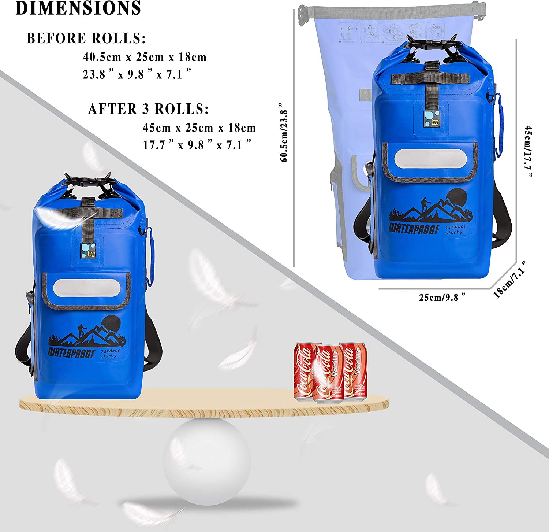 Dry Bag Backpack Waterproof 20L Beach Hiking Boating IDRYBAG Waterproof Backpack Floating Dry Bag Roll Top Keeps Gear Dry for Kayaking Rafting Fishing Camping Swimming Travel