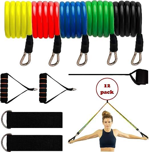 Indoor//Outdoor Fitnessb/änder Widerstandsband-Set f/ür M/änner//Frauen Senston Expander Tubes Resistance Bands Set 11er Pack Fitnessband Gymnastikband Stapelbar bis zu 100 lbs