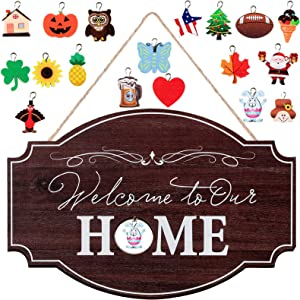 Jetec Seasonal Welcome Door Sign Interchangeable Welcome to Our Home Hanging Wood Sign Front Door Sign with Burlap Bow with 18 Seasonal Ornament for Christmas Easter Holiday Porch Decor