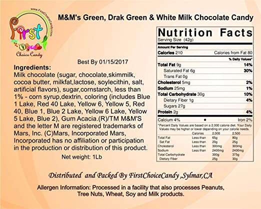 Amazon.com : m&ms Green, Dark Green & White Milk Chocolate m&m Spring Mix Candy 1 Pound Resealable Pouch Bag : Grocery & Gourmet Food