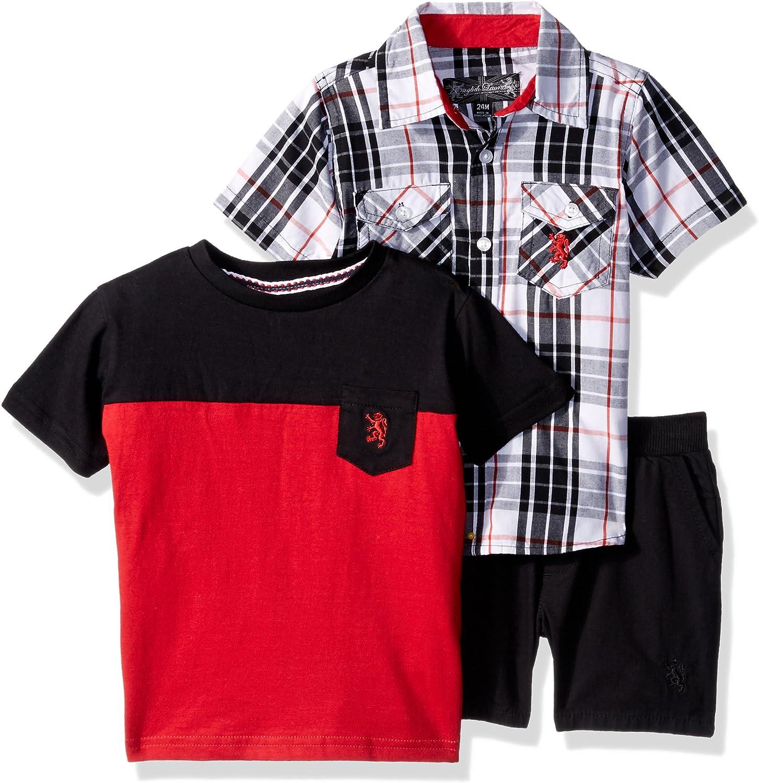 English Laundry Baby Boys Plaid Sport Shirt, Color Block Pocket Tee and Ripstop Short