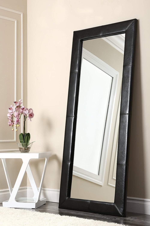 Amazon.com: Abbyson Living Allure Black Leather Floor Mirror: Home ...