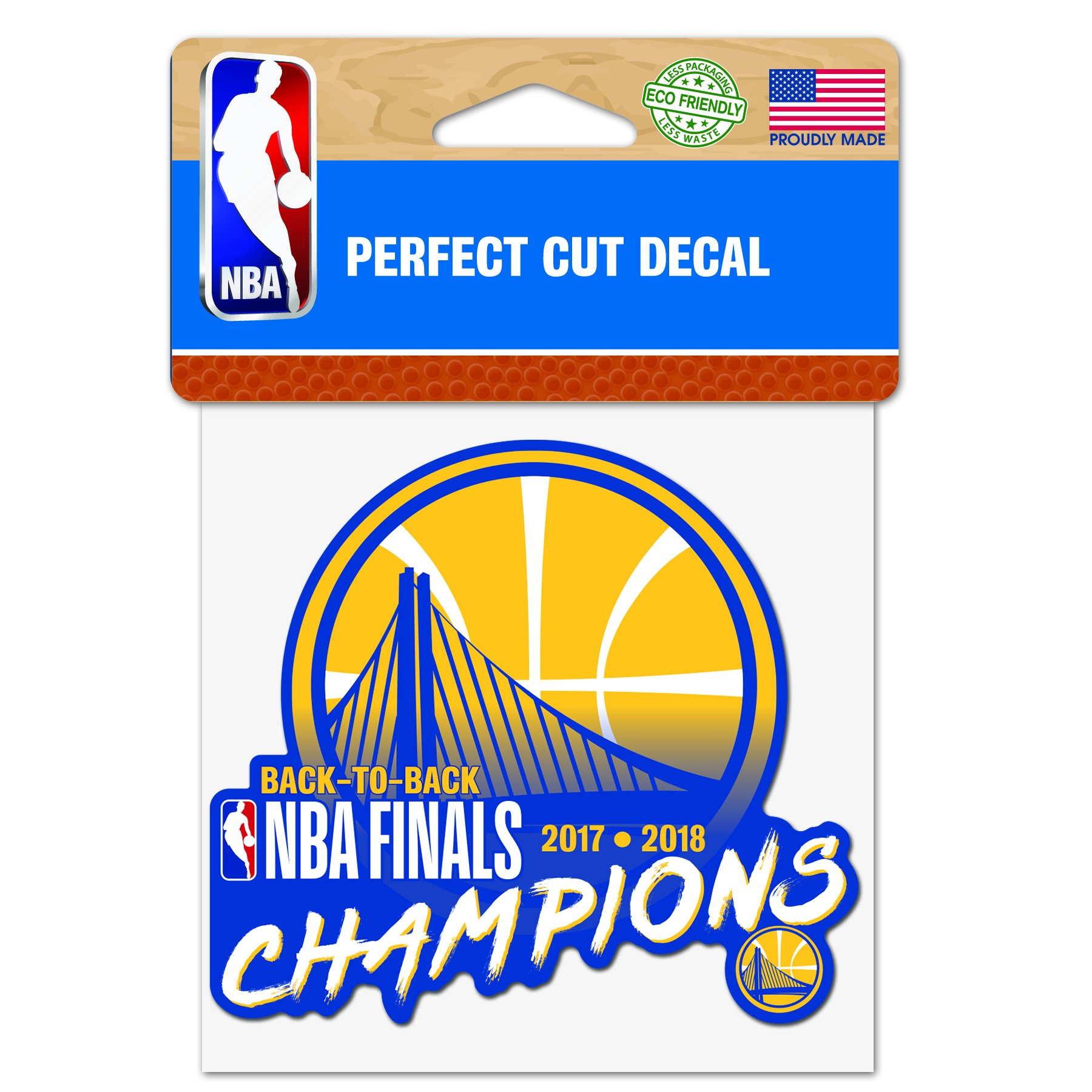 WinCraft Golden State Warriors Official NBA 4'' x 2018 National Champions Automotive Car Decal 4x4 by 262004 by WinCraft