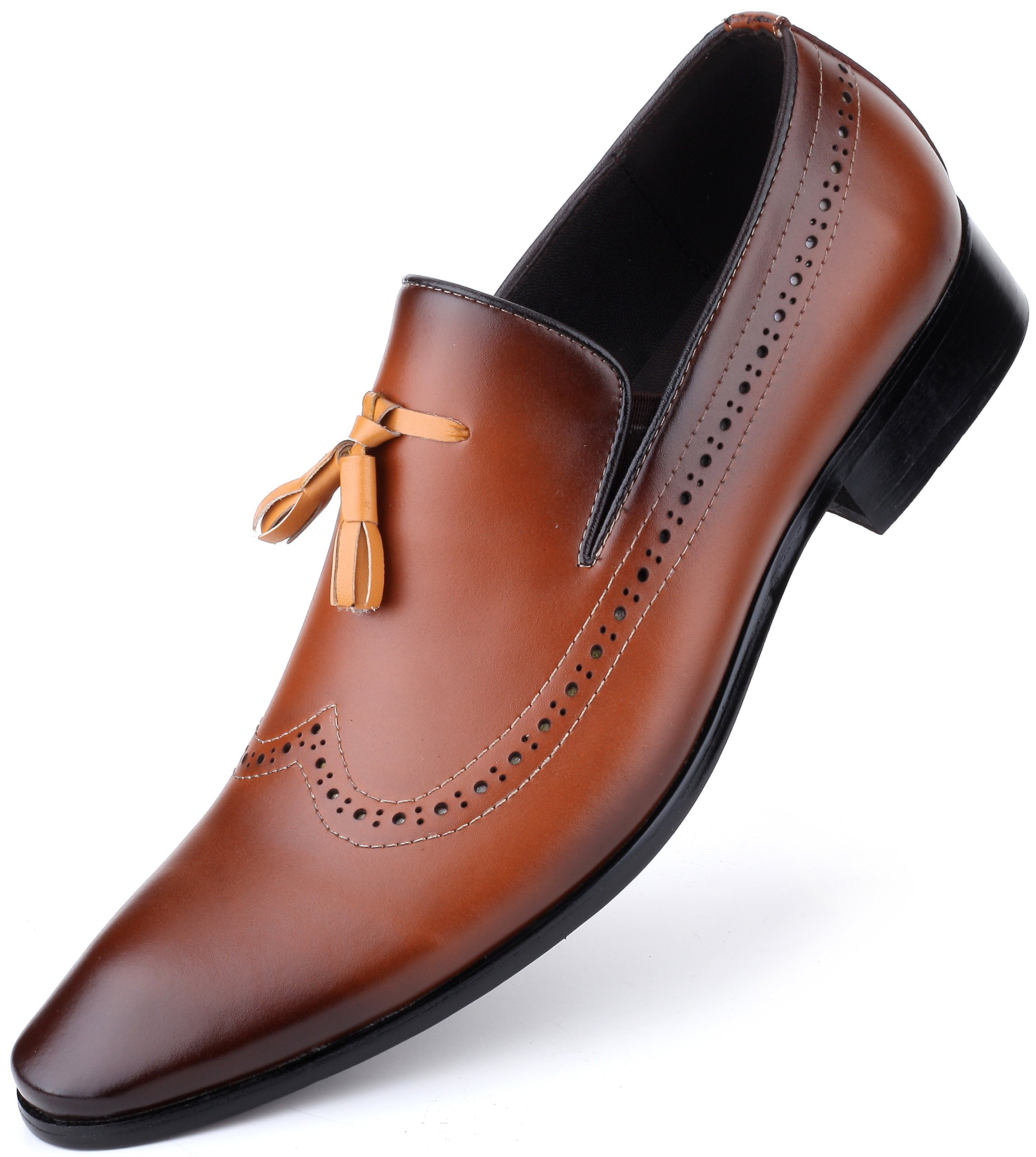 Mio Marino Mens Dress Shoes Oxford - Wingtip Loafers - MonkStrap Leather Shoes For Men, in a Shoe Bag - Umber