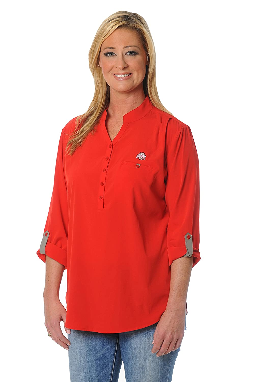 NCAA Ohio State Buckeyes Women's Button Down Tunic Top Large Red Grey