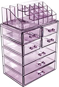 Sorbus Cosmetic Makeup and Jewelry Storage Case Display - Spacious Design - Great for Bathroom, Dresser, Vanity and Countertop (3 Large, 4 Small Drawers, Purple)