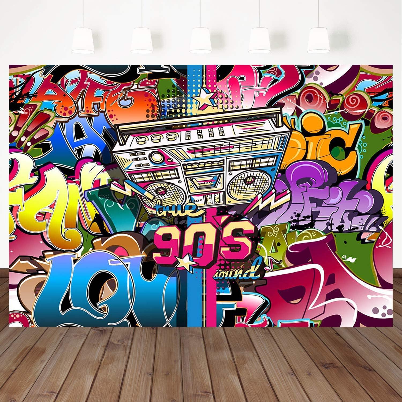 Amazon Com Mehofoto 90s Backdrop Radio Retro Photography Backdrops 7 5ft Vinyl Graffiti Hip Hop Party Background 90 S Party Decoration Props Camera Photo