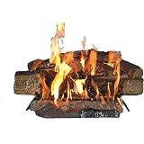 Country Split Oak Vented Dual Burner Log Set for Natural Gas Fireplace, 24-Inch