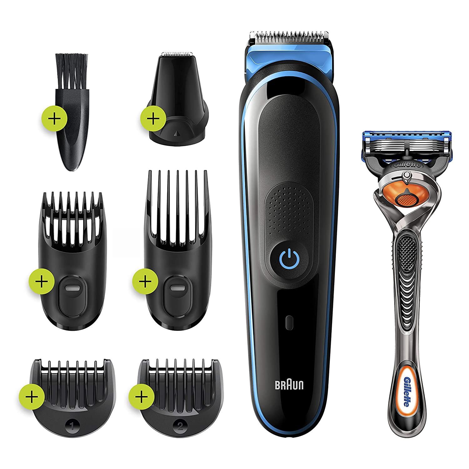 Braun 7-in-1 Trimmer MGK3245 Beard Trimmer for Men, Face Trimmer and Hair Clipper, Black/Blue